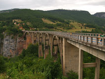 Bro över floden Tara, Montenegro Fotografering för Bildbyråer