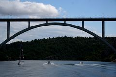 bro över flodinställning Arkivbild