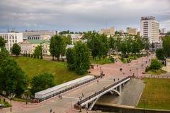 Bro över flodsikten av staden av Vitebsk Royaltyfri Bild