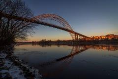Bro över Glomma i Fredrikstad, Norge Royaltyfria Foton
