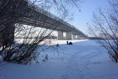 Bro över Irtyshet River som namnges efter den 60th årsdagen av Arkivbild