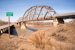 Bro över Missouri River Montana Northern United States Arkivfoto