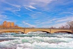 Bro över Niagara och ingångar på Niagara River Royaltyfri Foto