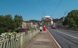 Bro över Po River i Turin Royaltyfria Foton