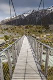 Bro över prostituteradfloden i den Aoraki nationalparken Nya Zeeland Arkivfoton