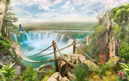 Bro över vattenfallet Arkivfoton