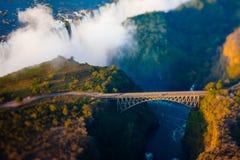 Bro över Victoria Falls Arkivbild