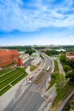 Bro över Wisla i Warszawa Arkivbild