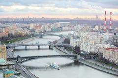 Bro av Bogdan Khmelnitsky, Borodinsky bro, Smolensky bro Arkivbild