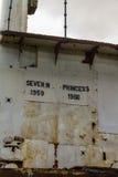 Bro av den övergivna bilfärjan Severn Princess Fotografering för Bildbyråer