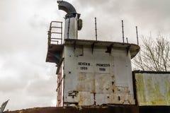 Bro av den övergivna bilfärjan Severn Princess Arkivbilder