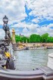 Bro av den Alexandre III bron 1896 Arkivbilder