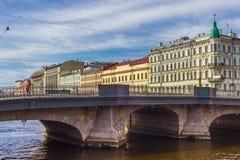 Bro av den Fontanka floden i St Petersburg, Royaltyfria Foton
