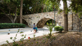 Bro av den Neratzia slotten i Kos Royaltyfri Foto