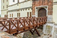 Bro av den Spilberk slotten i Brno Arkivbild