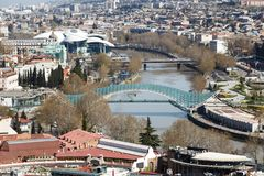 Bro av fred i Tbilisi, bästa sikt Royaltyfria Foton