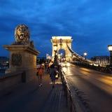 Bro av kedjorna som lokaliseras i Budapest, arkivfoton