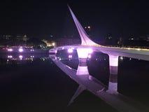 Bro av kvinnan, reflexion i floden på natten royaltyfri bild