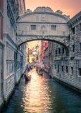Bro av Sighs på Doge& x27; s-slott, i Venedig Royaltyfri Bild