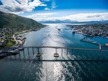 Bro av staden Tromso, Norge Royaltyfri Bild