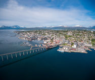 Bro av staden Tromso, Norge Royaltyfria Foton