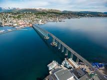 Bro av staden Tromso, Norge Fotografering för Bildbyråer