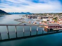 Bro av staden Tromso, Norge Arkivbilder