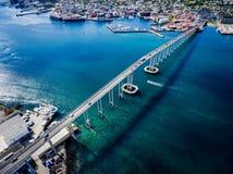 Bro av staden Tromso, Norge Arkivbild