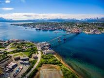 Bro av staden Tromso, Norge Royaltyfri Fotografi