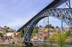 Bro Dom Louis över floden Douro porto portugal Arkivbilder
