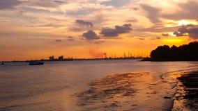 Bro för ö för marina@ keppel fjärd Arkivfoto