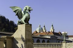 Bro för drake` s, Ljubljana, Slovenien royaltyfria foton