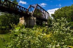 Bro för Erie järnvägMahoning flod Arkivbild