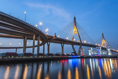 Bro för solnedgång royaltyfri fotografi