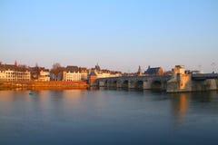 Bro för St. Servaasbrug - Maastricht - Nederländerna Arkivfoton