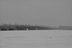 Bro för vinter Neva och Troitzky i St Petersburg, Ryssland Arkivfoton