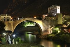 bro gammala mostar stämma överens områdesområden som Bosnien gemet färgade greyed herzegovina inkluderar viktigt, planera ut terr Arkivfoton