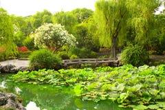 Bro i ödmjuka administratörs trädgård i Suzhou, Kina royaltyfri foto