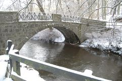 Bro i Aden Country Park, Aberdeenshire, efter tungt snöfall Arkivfoton