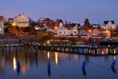 Bro i aftonen på västkusten i Sverige Royaltyfria Bilder