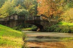 Bro i Bremen Buergerpark Royaltyfri Bild