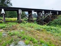Bro i byn av Arnold, British Columbia, Kanada Fotografering för Bildbyråer