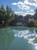 Bro i en botanisk trädgård Arkivbilder