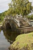 Bro i en japansk trädgård, Hawaii royaltyfri fotografi
