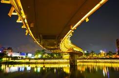 Bro i en parkera på natten i Kaohsiung, Taiwan Arkivfoto