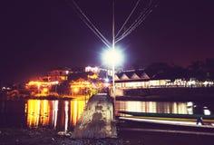 Bro i Laos på natten Fotografering för Bildbyråer