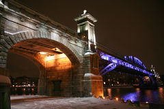 Bro i Moscow Arkivfoton