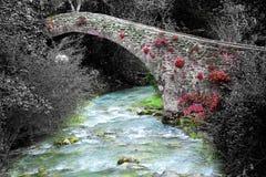 Bro i mycket liten medeltida italiensk by Arkivbilder