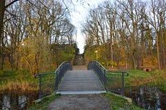 Bro i parkera under sista dagar av nedgången royaltyfria foton