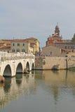 Bro i Rimini, Italien Arkivfoton